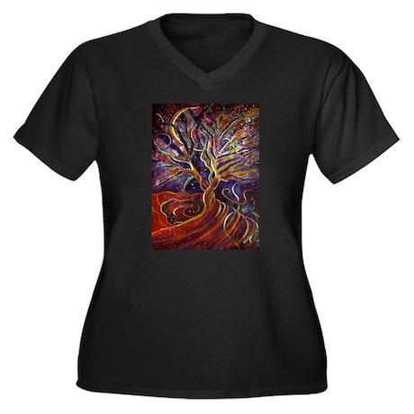 Aura Energy Tree Women's Plus Size V-Neck Dark T-S