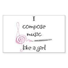 I compose music like a girl Rectangle Decal
