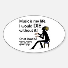 Music Is My Life Oval Decal