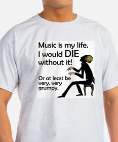 Music Is My Life Ash Grey T-Shirt