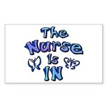 The Nurse Is IN (blue) Rectangle Sticker