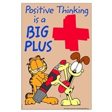 Positive Thinking Garfield Large Poster