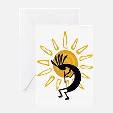 Hopi Kokopelli Gold Greeting Card