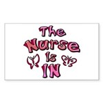 The Nurse Is IN (rose / pink) Sticker (Rectangular