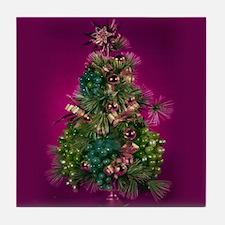 Purple holiday tree Tile Coaster