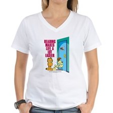 Reading Makes Life Easier Women's V-Neck T-Shirt