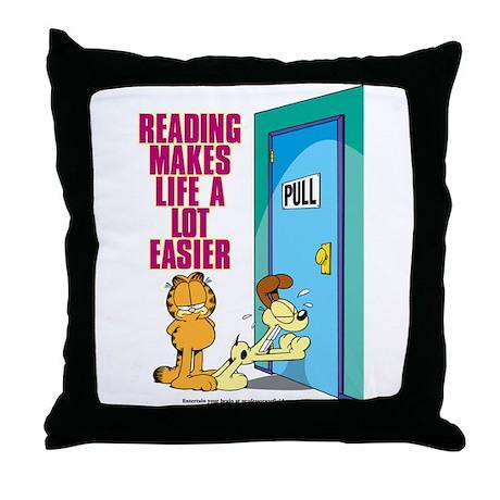Reading Makes Life Easier Throw Pillow