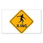Discus X-ing Rectangle Sticker 50 pk)