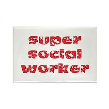 super social worker (Red) Rectangle Magnet