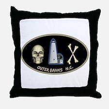 OBX-Ocracoke Skull-n-Bones Throw Pillow