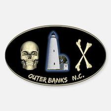 OBX-Ocracoke Skull-n-Bones Oval Decal