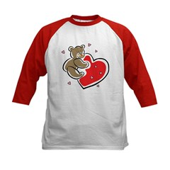 Teddy Bear Heart Kids Baseball Jersey
