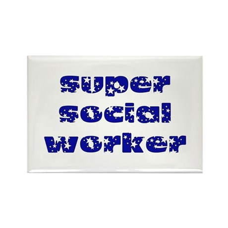 super social worker (Navy) Rectangle Magnet