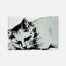 Cat Nap Rectangle Magnet