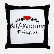Self-Rescuing Princess Throw Pillow