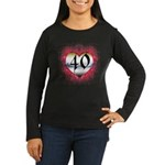 Gothic Heart 40th Women's Long Sleeve Dark T-Shirt