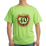 Gothic Heart 40th Green T-Shirt