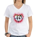 Gothic Heart 40th Women's V-Neck T-Shirt