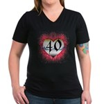 Gothic Heart 40th Women's V-Neck Dark T-Shirt