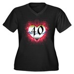 Gothic Heart 40th Women's Plus Size V-Neck Dark T-