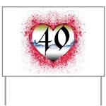 Gothic Heart 40th Yard Sign