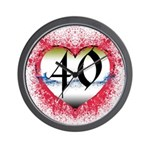 Gothic Heart 40th Wall Clock