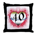 Gothic Heart 40th Throw Pillow