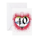 Gothic Heart 40th Greeting Cards (Pk of 10)