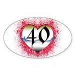 Gothic Heart 40th Oval Sticker (10 pk)