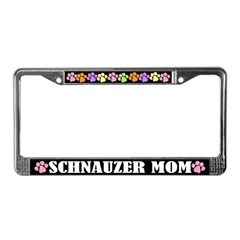 Cute Schnauzer Mom License Plate Frame