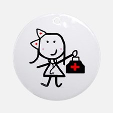 Girl & Medical Ornament (Round)