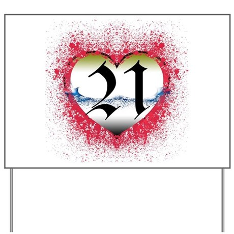 Gothic Heart 21st Yard Sign