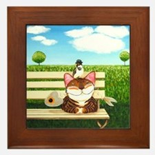 Cat Art - When Nature Calls Framed Tile