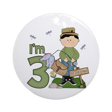 Lil Fisherman 3rd Birthday Ornament (Round)