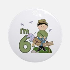 Lil Fisherman 6th Birthday Ornament (Round)