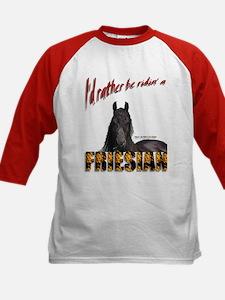"""I'd rather be ridin a Friesian"" Baseball Jersey"