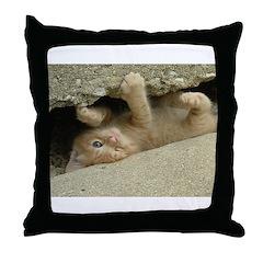 Orange Tabby Kitten Throw Pillow