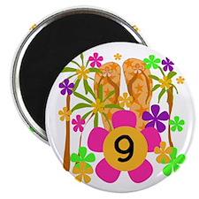 Luau 9th Birthday Magnet