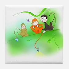 Cute Monkey trio Tile Coaster