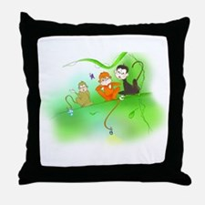 Cute Monkey trio Throw Pillow