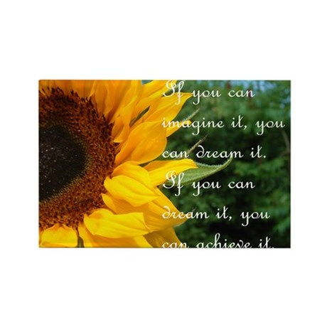 Imagine Dream Achieve Flower Rectangle Magnet