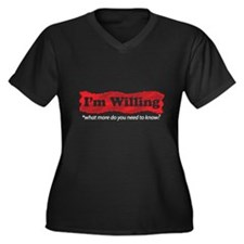 I'm Willing Women's Plus Size V-Neck Dark T-Shirt