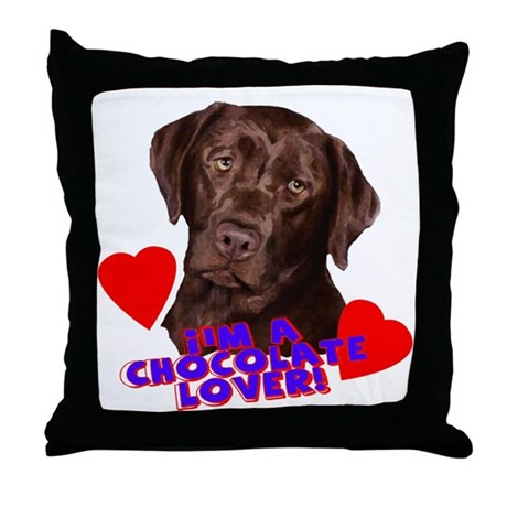 chocolate lover lab Throw Pillow