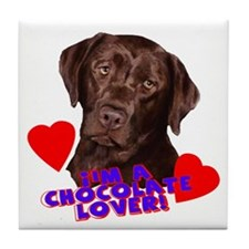 chocolate lover lab Tile Coaster