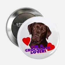 chocolate lover lab Button