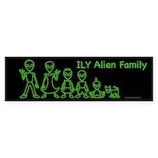 ILYAlienFamilyText Black Bumper Bumper Sticker