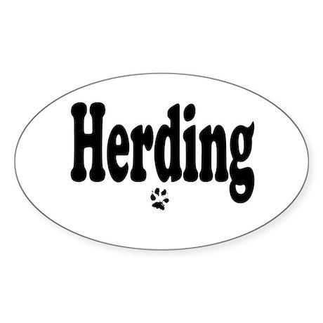 Herding Oval Sticker