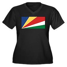 Seychelles Flag Women's Plus Size V-Neck Dark T-Sh