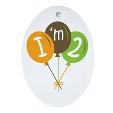 2nd Birthday Balloons Oval Ornament