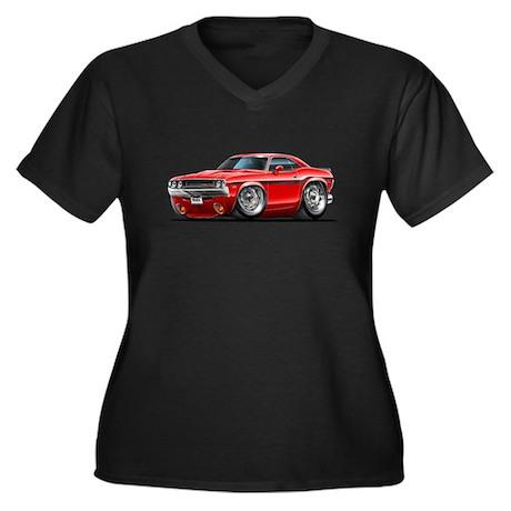 Challenger Red Car Women's Plus Size V-Neck Dark T